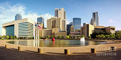 Panorama Of Downtown Dallas Skyline From City Hall - North Texas Art Print by Silvio Ligutti