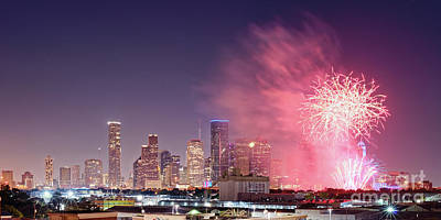Photograph - Panorama Of Downtown Houston Skyline Fireworks On The 4th Of July - Harris County Texas by Silvio Ligutti