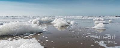 Zandvoort Photograph - Panorama Of Foam On The Dutch Beach by Alex Hiemstra