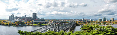 Gatineau Photograph - Panorama Of Gatineau, Quebec Lookig North The Alexandra Bridge From Nepean Point, Ottawa Ontar by Robert McAlpine