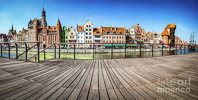 Photograph - Panorama Of Gdansk Old Town And Motlawa River In Poland. View From Embankment by Michal Bednarek