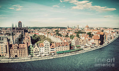 Photograph - Panorama Of Gdansk Old Town And Motlawa River In Poland. Vintage by Michal Bednarek