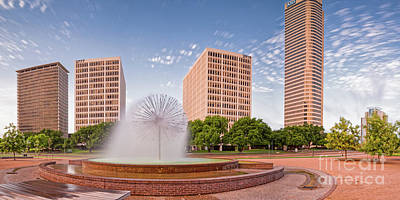 Photograph - Panorama Of Gus Wortham Dandelion Fountain - Allen Parkway City Of Houston Skyline - Texas by Silvio Ligutti