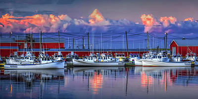 Photograph - Panorama Of Harbor With Fishing Fleet In Cascumpec Bay At Sunset On Prince Edward Island by Randall Nyhof