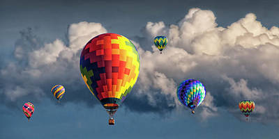 Photograph - Panorama Of Hot Air Balloons And Cloudy Sky At A Balloon Festival by Randall Nyhof
