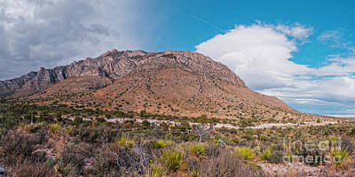 Photograph - Panorama Of Hunter Peak And Pine Springs - West Texas Guadalupe Mountains National Park by Silvio Ligutti