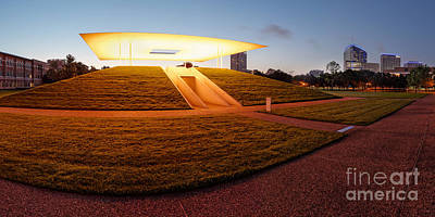 Panorama Of James Turrell Skyspace Twilight Epiphany - Rice University Houston Texas Art Print by Silvio Ligutti