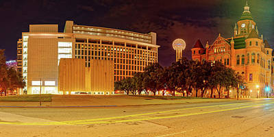 Black Commerce Photograph - Panorama Of Jfk Memorial, Reunion Tower, And Old Red Museum - Downtown Dallas Texas by Silvio Ligutti