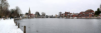 Photograph - Panorama Of Marlow Bridge In Winter by Chris Day