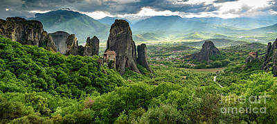 Photograph - Panorama Of Meteora Including Monastery Of Saint Nicholas Of Anapafsas, Meteora, Greece by Global Light Photography - Nicole Leffer