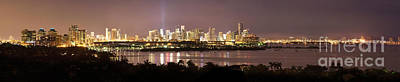 Panorama Of Miami At Night Art Print by Matt Tilghman