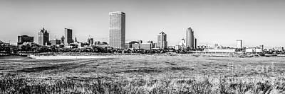 Panorama Of Milwaukee Skyline Black And White Picture Art Print