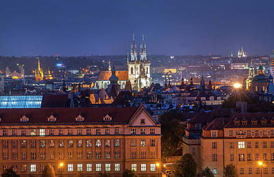 Photograph - Panorama Of Night Prague by Jenny Rainbow