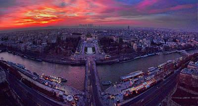 Paris Skyline Photos - Panorama of Paris Skyline at Dusk by David Smith