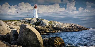 Photograph - Panorama Of Peggys Cove Lighthouse With Flying Gulls by Randall Nyhof