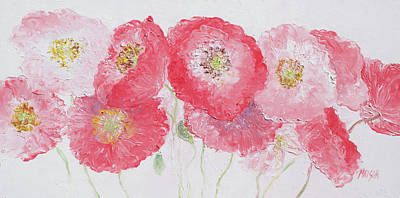 Painting - Panorama Of Pink Poppies  by Jan Matson