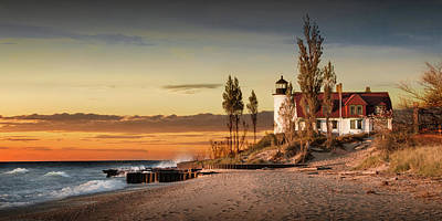 Photograph - Panorama Of Point Betsie Lighthouse At Sunset by Randall Nyhof