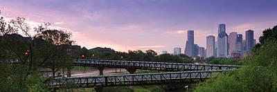 Panorama Of Rosemont Bridge Over Buffalo Bayou At Sunrise - Downtown Houston Skyline Texas Art Print