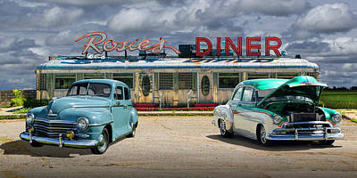 Photograph - Panorama Of Rosie's Diner With Vintage Automobiles by Randall Nyhof