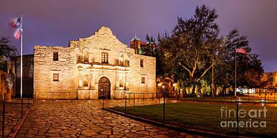 The Alamo Wall Art - Photograph - Panorama Of The Alamo In San Antonio At Dawn - San Antonio Texas by Silvio Ligutti