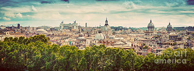 Grunge Photograph - Panorama Of The Ancient City Of Rome Italy by Michal Bednarek