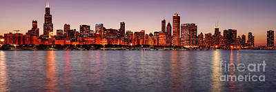 Photograph - Panorama Of The Chicago Skyline At Twilight From Adler Planetarium - Chicago Illinois by Silvio Ligutti