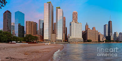 Panorama Of The Chicago Skyline From Milton Lee Olive Park At Sunrise - Chicago Illinois Art Print by Silvio Ligutti