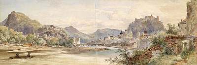 Altmann Drawing - Panorama Of The City Of Salzburg With The Fortress Hohensalzburg by Anton Altmann the Younger