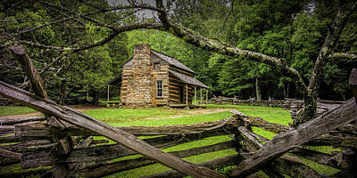 Photograph - Panorama Of The Oliver Cabin In Cade's Cove by Randall Nyhof