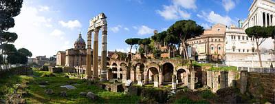Panorama Of The Roman Forum Print by John  Bartosik