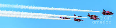 Photograph - Panorama Of The Royal Air Force Red Arrows Performing In Greece by Global Light Photography - Nicole Leffer