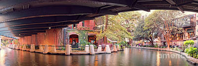 Photograph - Panorama Of The San Antonio Riverwalk Underneath Navarro Street Bridge - Bexar County Texas by Silvio Ligutti
