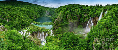 Photograph - Panorama Of Turquoise Lakes And Waterfalls - A Dramatic View, Plitivice Lakes National Park Croatia by Global Light Photography - Nicole Leffer