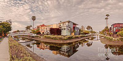 Panorama Of Venice Beach Canals - Los Angeles California Art Print by Silvio Ligutti