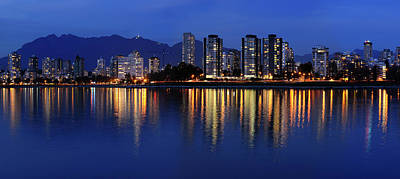 Vancouver Photograph - Panorama Of West End Vancouver Skyline At Twilight Reflected In  by Reimar Gaertner