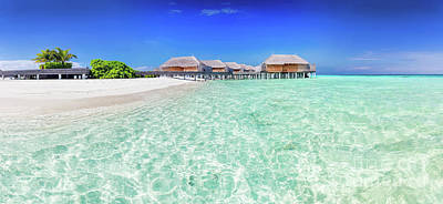 Panoramic Photograph - Panorama Of Wide Sandy Beach With Water Villas On A Tropical Island In Maldives by Michal Bednarek