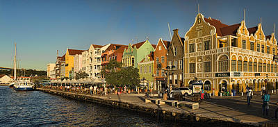 Port Town Photograph - Panorama Of Willemstad Waterfront Curacao by David Smith