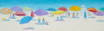 Panorama Painting Of Main Beach East Hampton Art Print by Jan Matson