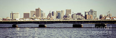 Charles River Photograph - Panorama Photo Of Boston Skyline And Harvard Bridge by Paul Velgos