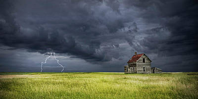 Photograph - Panorama Photograph Of A Thunderstorm On The Prairie With Abandoned Farmhouse by Randall Nyhof