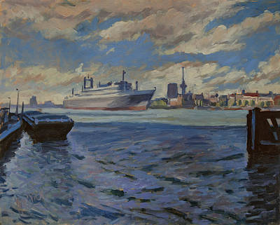 Impressionist Painting - Panorama Rotterdam by Nop Briex
