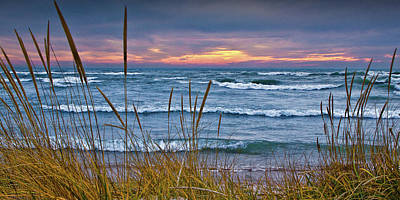 Photograph - Panorama Sunset On A Lake Michigan Beach by Randall Nyhof