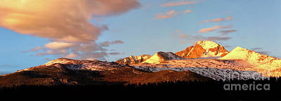 Panorama View Of Longs Peak At Sunrise Art Print by Ronda Kimbrow