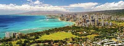 Art Print featuring the photograph Panorama - Waikiki, Honolulu, Oahu, Hawaii by D Davila