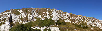 Photograph - Panorami  Image Of A Section Of Chalk Cliffs Above Samphire Hoe by John Gaffen