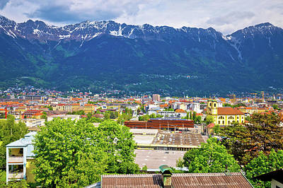 Photograph - Panoramic Aerial View Of Innsbruck And Hafelekarspitze Mountain by Brch Photography