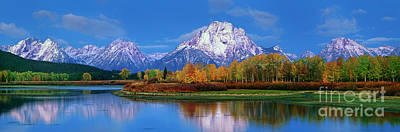 Photograph - Panoramic Autumn Morning Oxbow Bend Grand Tetons National Park by Dave Welling