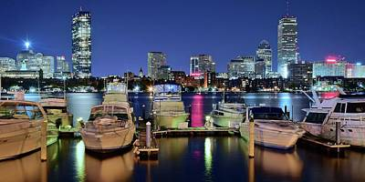 Photograph - Panoramic Boston Harbor Night View by Frozen in Time Fine Art Photography