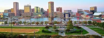 Photograph - Panoramic Cityscape Of Baltimore From The Hill by Frozen in Time Fine Art Photography
