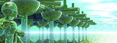 Panoramic Green City And Alien Or Future Human Art Print by Nicholas Burningham